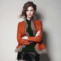 Mgicola2013 genuine leather sheepskin disassembly raccoon fur slim fashion short design leather clothing women's