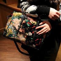 Hot Casual  spring fashion vintage double arrow oil painting bag laptop messenger bag fashion woman bag