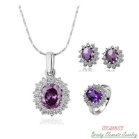 Sparkling Star Made With Swarovski Austrian Crystal Facet Amethyst Zircon Wedding Jewelry Set, Real 18K White Gold Plated S099
