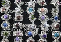 New Fashion Jewelry Wholesale mixed lots 30pcs rhinestone/cubic zirconia silver plated lady's/women's rings w3503 Free shipping