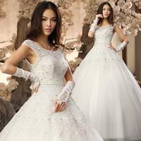 Wedding dress 2014 new arrival princess lace V-neck double-shoulder winter wedding dress formal dress