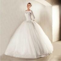European version of the slit neckline long-sleeve bride wedding slim waist straps 2014 new arrival wedding dress