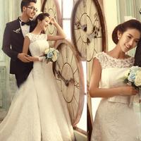 2014 double-shoulder slit neckline bride luxury aesthetic train wedding dress formal dress new arrival 2013