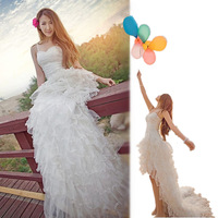 Wedding dress new arrival 2014 short front puff with trailing wedding dress bride spaghetti strap paillette sweet
