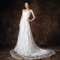The bride wedding dress 2014 new arrival sexy tube top short trailing wedding dress slim fish tail white wedding dress