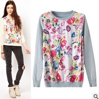 2014 Spring New Fashion Women's Chiffon Patchwork Flower Print Hoodies Shirts