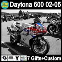 7gift For Triumph Daytona 600 02-05 Silver red blue 02 03 04 05 Fairings 24Q59  new silvery Triumph600 600 2002 2003 2004 2005