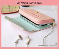 TOP Quality PU Leather wallet /Smart phone bag holster case for Nokia Lumia 920 Lumia 925 Lumia 820 Lumia 720 520