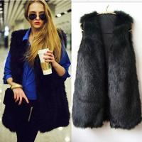 2013 New Arrival Women's Fur Vest V-neck Sleeveless Faux Vest Faux Fur Long Waistcoat Design Vest Fur Coat, Free Shipping