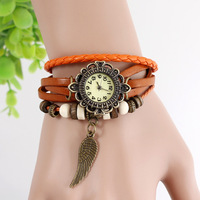 Hot Sale New High Quality Women's  Genuine Leather Vintage Watch,bracelet Wristwatches ANGEL WING