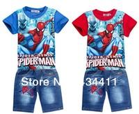1Set Retail spiderman kids clothing sets,fashion cartoon children summer shirt jeans shorts set,baby toddler boys tees pant suit