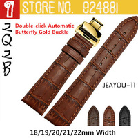 2014 High Quality Watchbands,New Designed Buckle-Double-click Butterfly Automatic Gold Clasp,Genuine Leather,18 19 20 21 22mm