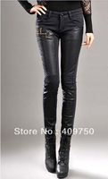 Wholesale new arrial PU stitching plus velvet winter long skinny female feet were thin pencil jeans