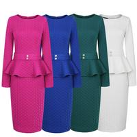 Elegant autumn and winter vintage ol slim hip thickening cotton long-sleeve ruffle women one-piece dress