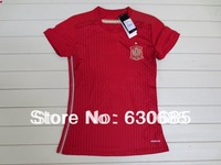 New arrival 2014 spain home Ladie womens girls red best quality soccer football jersey, woman soccer football jerseys