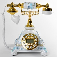 Fashion antique rustic telephone old fashioned vintage classical telephone blue screen hands-free