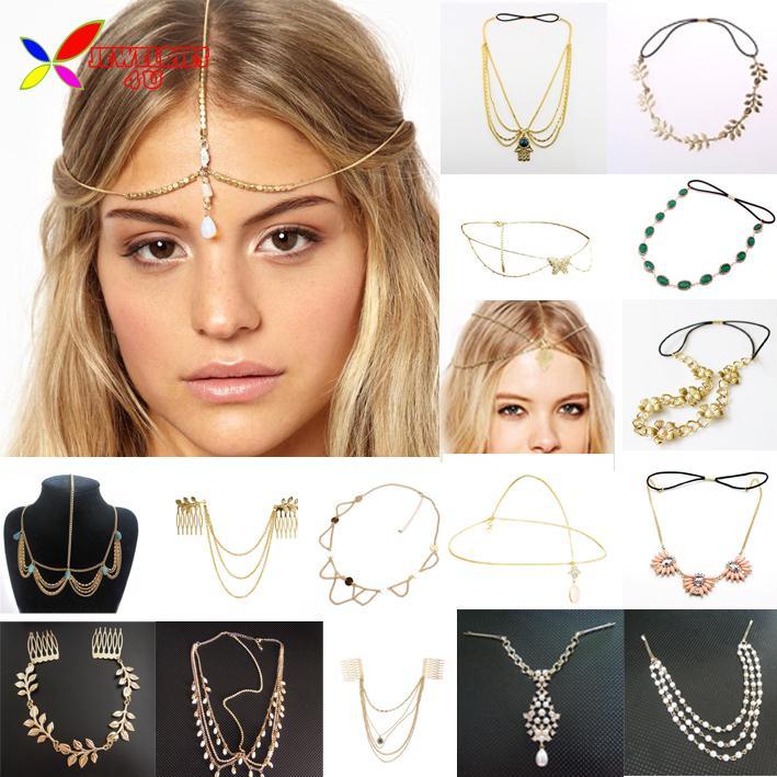 2014 neue heiße haar schmuck mode goldenen metall perlen shell waterdrop charme hochzeit stirnbänder haar tragen accessoires für frauen