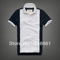 2014 Summer New men's Fashion Short Sleeve, Men's Striped short Sleeve T-shirts Fashion Turn-down collar Splicing  T Shirts