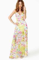 haoduoyi 2014 new women fashion split deep V slip print dress free shipping and wholesale