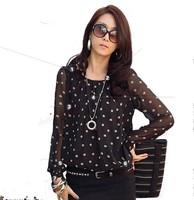 Plus size M-3XL!! 2014 Autumn women's shirts top polka dot chiffon long sleeve loose fat lace dot shirt blouse for women #01555