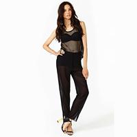 2014 thin fashion sexy chiffon pants double layer long design perspective female trousers chiffon pants haoduoyi