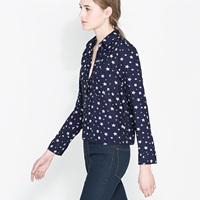 Print long-sleeve turn-down collar blue short design female shirt haoduoyi