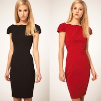 2014 new Retail slim falbala sleeve solid women dress sexy lady dresses color red black S M L