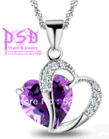 925 Sterling Silver & Platinum-Plated Neclace w/ Double Hearts Pendant