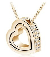 Wholesale 18k gold plated Austrian crystal heart design necklaces & pendant fashion Jewelry 2014 frauen for the year 18""