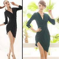 Deep V-neck sexy three quarter sleeve dress slim dress