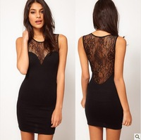 free shipping Perspective halter sexy lace stitching vest club wear Slim package hip dress
