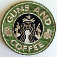 "3.5"" VELCRO PATCH Tactical Guns and Coffee Velcro Morale Military Badge Wholesale Free Shipping"