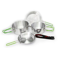 Alocs 2 - 3 person outdoor camping cookware camp picnic free aluminum camping pot set tableware 4 pcs camping cooking set