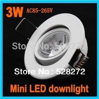 50pcs/lot Baked white paint mini 3w led downlight AC85-265V,cold white/ warm white LED Spot light Lamp CE&ROHS+free shipping