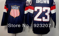 New Hot Sale!!!2014 Winter Olympic Game Team USA Los Angeles Man #23 Dustin Blue Ice Hockey Sports Jersey.Stitched Logo Numbers