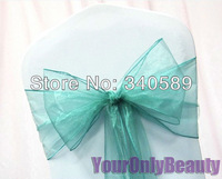 "Free Shipping--100pcs Teal Blue  8"" (20cm) W x 108"" (275cm) L Sheer Organza Sashes Wedding Party Banquet Chair Organza Sash Bow"