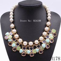 Minimum Order $10 2014 new fashion spring pearl pendant four leaf clover necklace accessory for girls free shipping