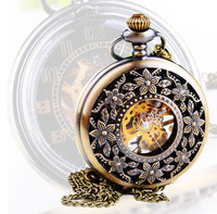 Hot Sale Mechanical Clock Watch Fashion Vintage Skeleton Mechanical Pocket Watch For Women Top Quality