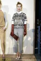 Free Shipping 2014 Spring Catwalk Fashion Short Sleeves Europe & America Brand Vintage Professional Print Tops Woman