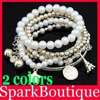 (15% off on wholesale) New Stars Eiffel Tower Bracelet Eiffel Tower Pearl Major Suit Coin Combinations Bracelet Bangle