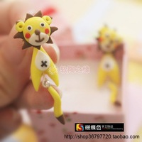 Polymer clay handmade stud earring accessories cartoon lion ear
