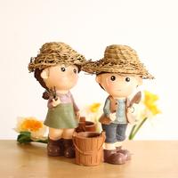 Dolls. Festival Gift Happy Farm. Originality Desktop Decoration Crafts Piggy Bank Brush Pot. Handmade Straw Hat  ID A0210160