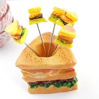 Creative Kitchenware Resin Sandwich Shape Cake Forks Set. Fashion Stainless Steel Fruit Forks Set. ID A0102190