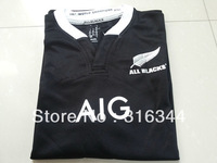 Hot sell all blacks home black 13/14 best thai quality fans version short sleeve Rugby Shirt soccer football jerseys, size:s-xl