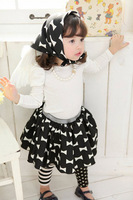 spring and autumn bow girls clothing baby long-sleeve basic shirt + short skirt + hood set GQT-340