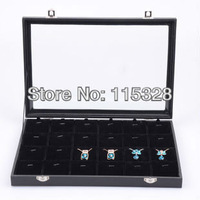 Hot Sale Free Shipping,Wholesale 1pcs/lot Black Necklace Pendant Display Glass Show Case Organizer Tray Box 201300420005