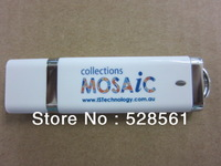 White Plastic Stick With Logo 1GB/2GB/4GB/8GB/16GB/32GB/64GB USB Flash Drive With Free Shipping