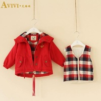 Children's clothing vest twinset plaid lining double layer baby cotton-padded coat child cotton trench dovetail outerwear