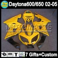 7gift Body Gloss yellow For Triumph Daytona 650 02-05  5#103 Daytona 600 all yellow 650 2002 2003 2004 2005 02 03 04 05 Fairing