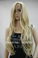 Free Shipping>>>New beautiful sexy no bangs blonde mix long wavy synthetic hair women's full wig